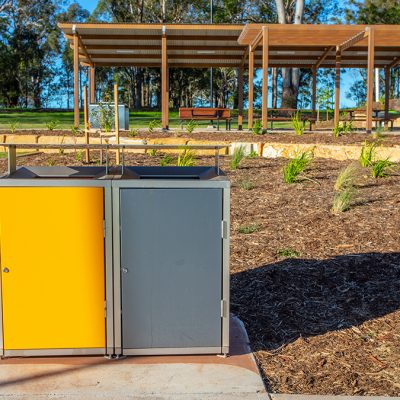 Terrain group Highfields Timbermatch shelter and bins