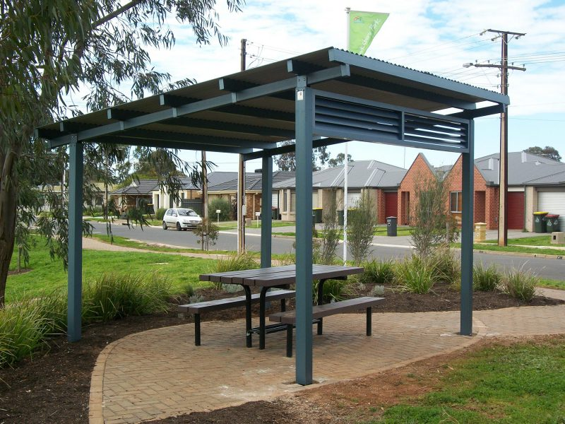 Skillion Shelter 4m x 4m with louver screen - Salisbury Council 2
