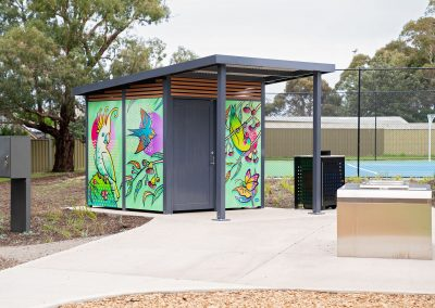 All Aluminium Toilet Building with a bold pop of colour